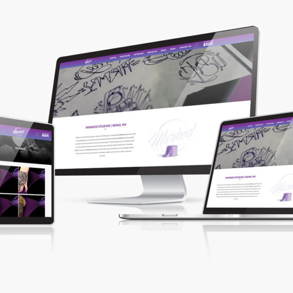 Marked Studios website branding shown on mobile devices