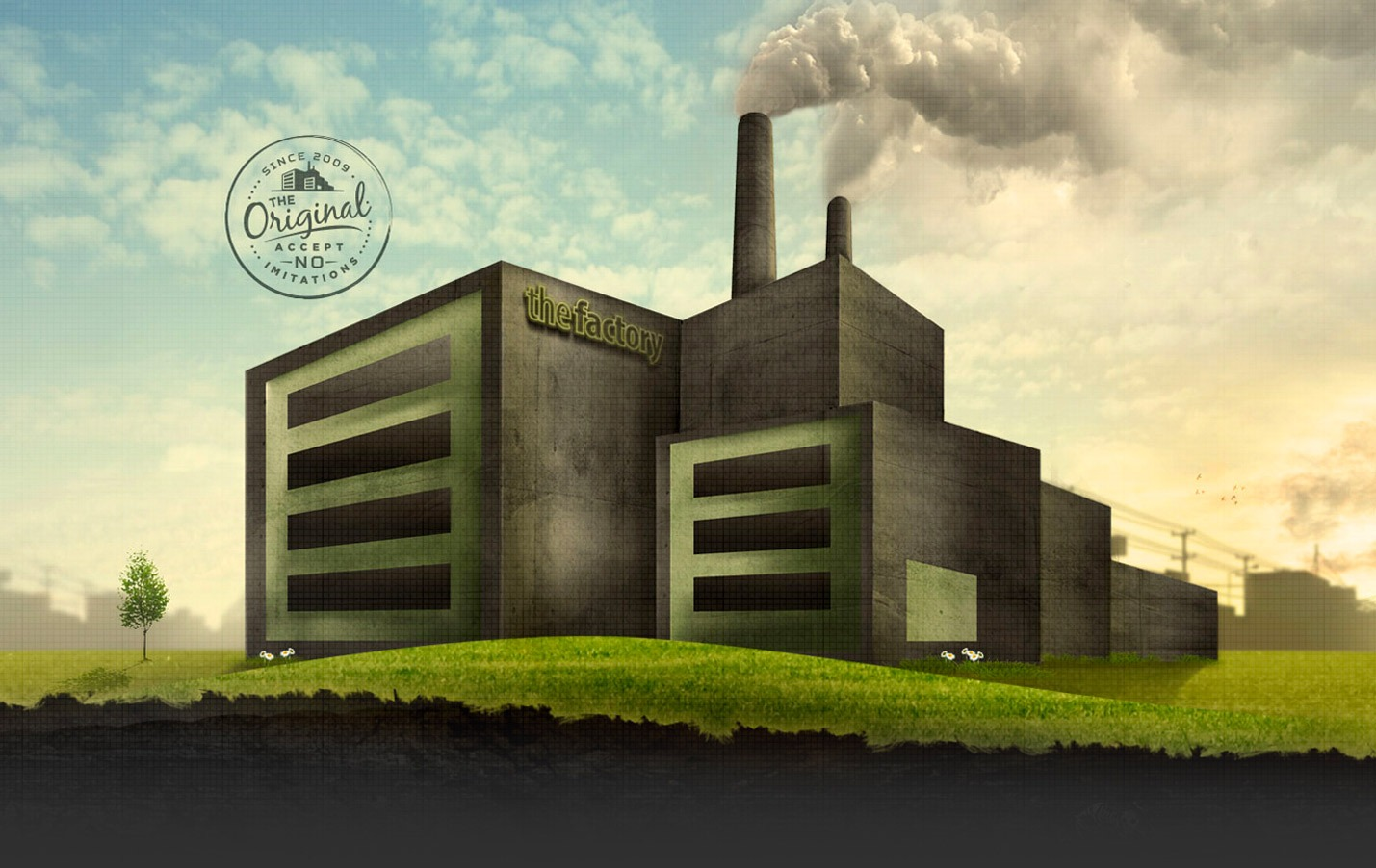 Illustration of a factory with steam on a blue sky and green grass background